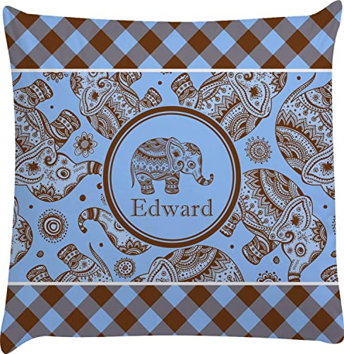 YouCustomizeIt Gingham Elephants Decorative Pillow Case Personalized