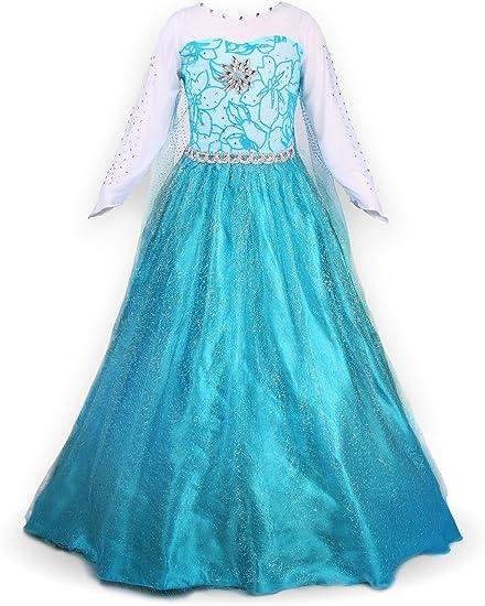 Nice Sport – Disfraz de princesa Elsa de manga larga para niña ...