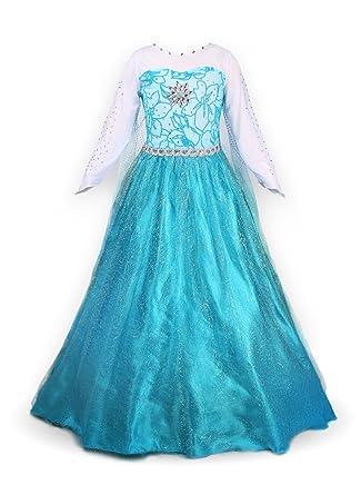 Nizza Sport Mädchen Prinzessin Elsa Langarm Kleid Kostüm: Amazon.de ...