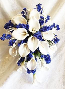 Bleu roi Blanc Cascade mariée Bouquet Calla Lys en soie Mariage Fleurs NEUF.