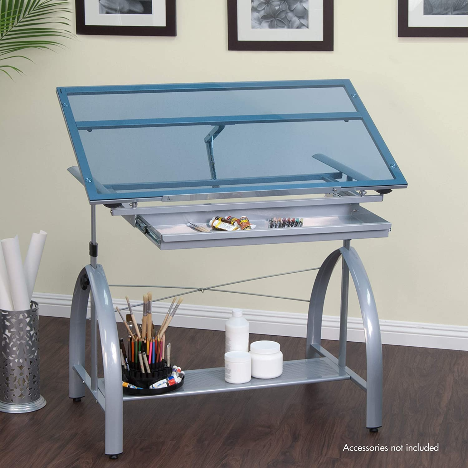 Amazon.com: Studio Designs Avanta Drafting Table in Silver with Blue ...