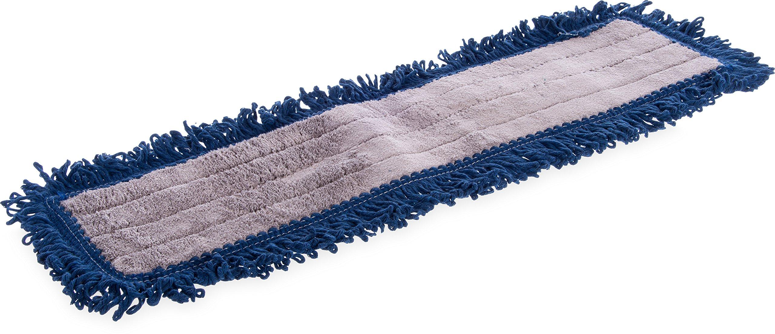 Carlisle 364882414 Flo-Pac Cotton Blend Launderable Dust Mop, 24'' Length x 5'' Width, Blue (Pack of 12)