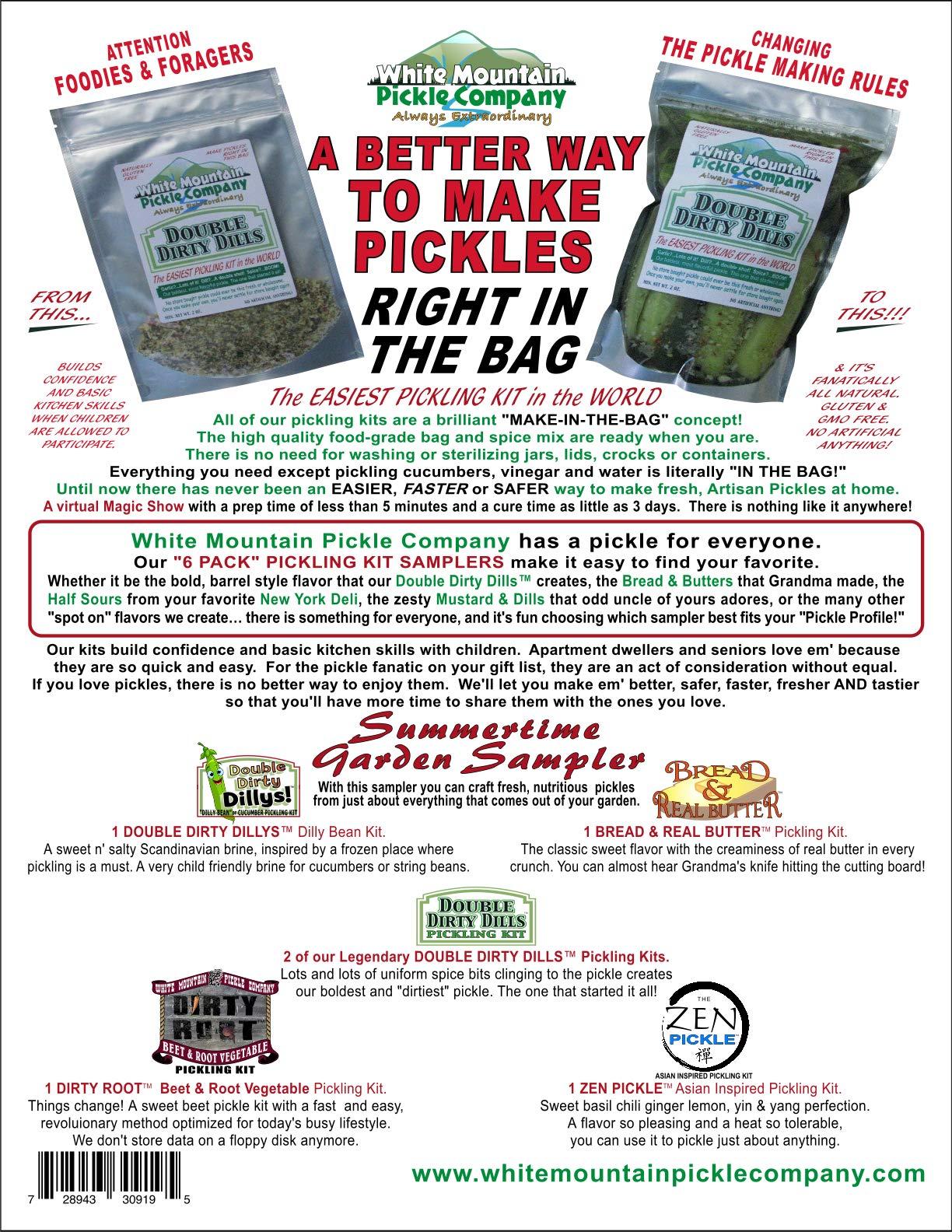 White Mountain Pickle Co. Summertime Garden Sampler Pickling Kit - No Jar Needed