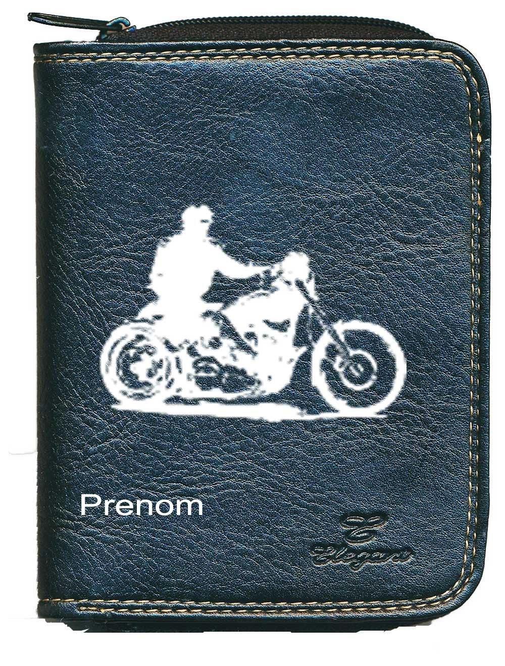 Sylla Moto style Harley Porte monnaie et carte noir pour Homme Personnalise avec votre prenom
