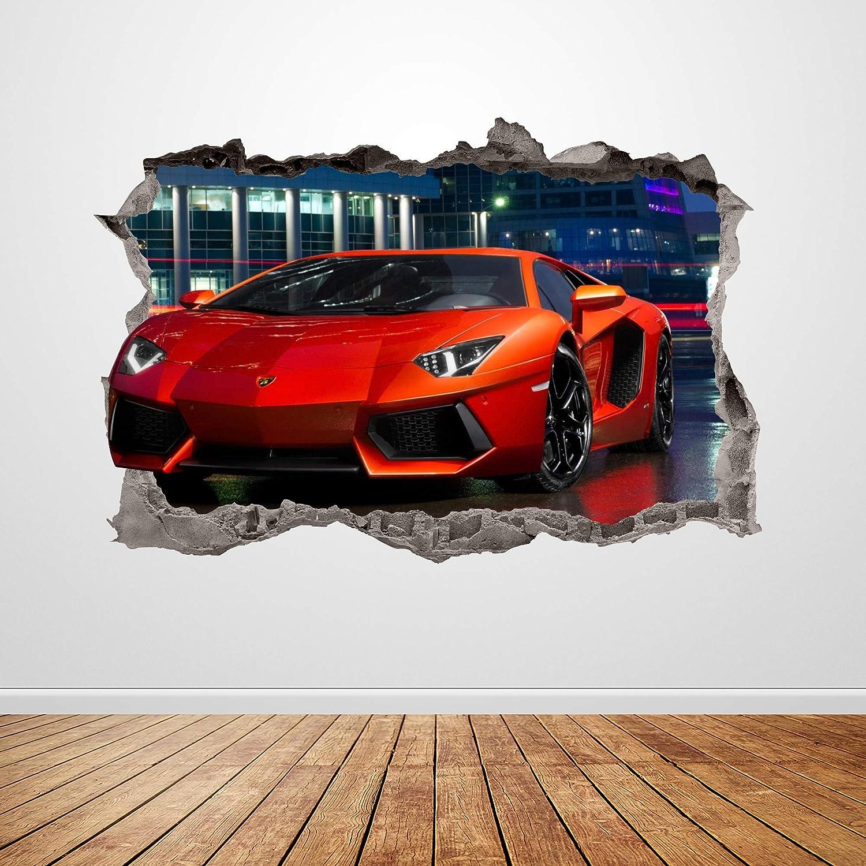 Lamborghini Racing Car Wall Decal Smashed 3D Graphic Wall Sticker Art Mural Poster Custom Vinyl Room Decor Gift UP190 (50