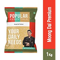 Popular Essentials Premium Moong Dal Pouch, 1 kg