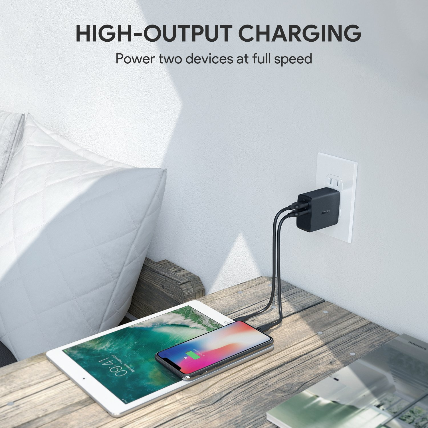Aukey Usb Wall Charger Ultra Compact Dual Port 48a Pa U42 Amp 2 Aipower Output Foldable Plug Compatible Iphone Xs Max Xr Ipad Pro Air Mini 4