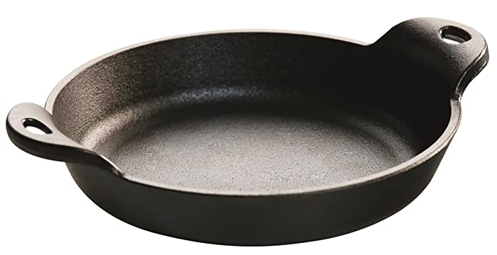 Lodge HMSRD Heat Enhanced and Seasoned Cast Iron Round Mini Server, 14-Ounce, Black