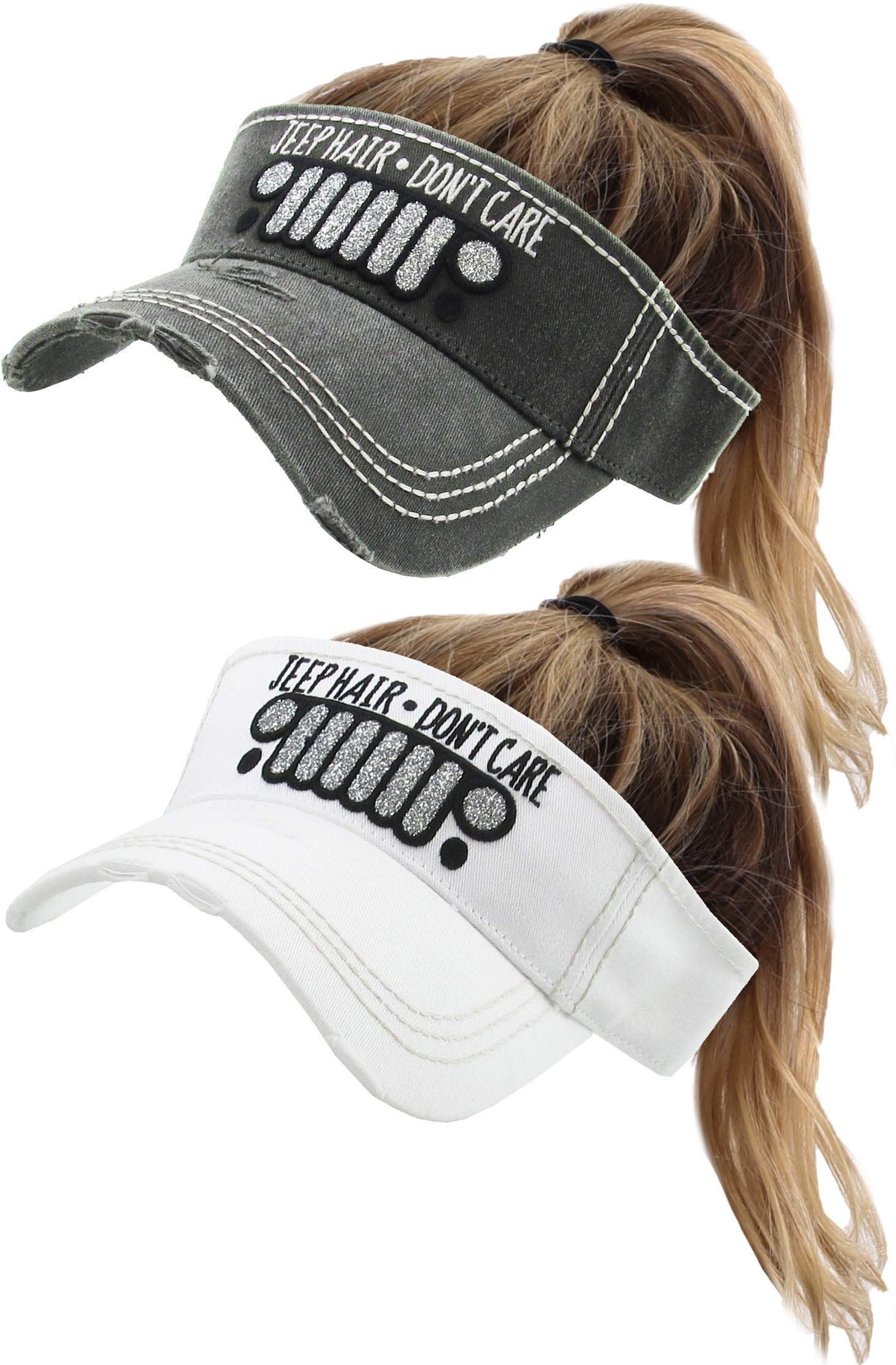 H-201-2-JHDC0609 Ponytail Visor 2-Pack: Jeep Hair - Black and White