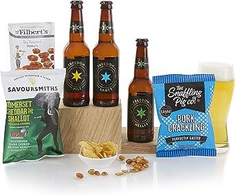 Cesta de comida y cerveza artesanal - Cestas de cerveza y de regalo para hombre - Surtido de delicias y cervezas: Amazon.es: Alimentación y bebidas
