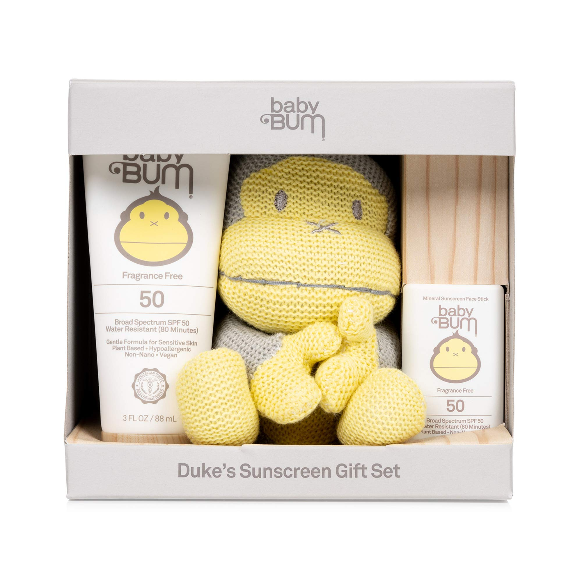 Sun Bum Baby Bum Duke's Sunscreen Gift Set   Travel Sized SPF 50 Mineral Sun Protection Lotion and Face Stick for Sensitive Skin with Duke Knit Toy   Fragrance Free   Gluten Free and Vegan, Yellow