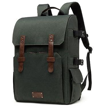 BAGSMART Camera Backpack for SLR/DSLR Cameras & 15.6  Laptop with Waterproof Rain Cover & Tripod Mount, Green