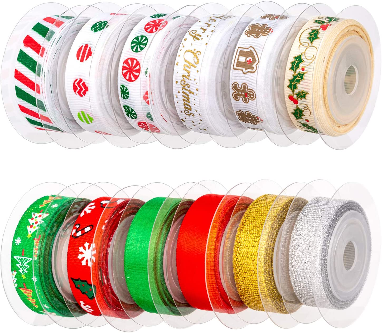 Amazon Com Aiex 12pcs Christmas Ribbon Satin Ribbons For Crafts Decorations Xmas Ribbon Set For Christmas Gift Box Wrapping Sewing Hair Banding Wedding Diy Crafts 12 Colors 60 Yards 3 8 Inch
