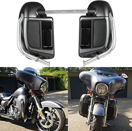 Advanblack Black Tempest Lower Vented Fairing Fit for Harley Touring Street Road King Glide FLTR 2018 2019 Leg Fairing Kits with Glove Box