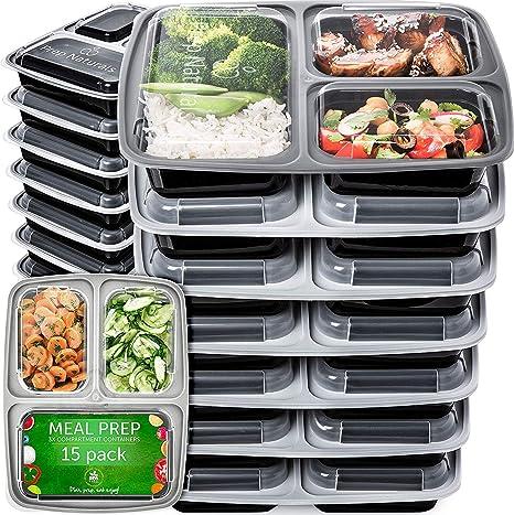 Amazon.com: Contenedores para preparar comidas, 3 ...