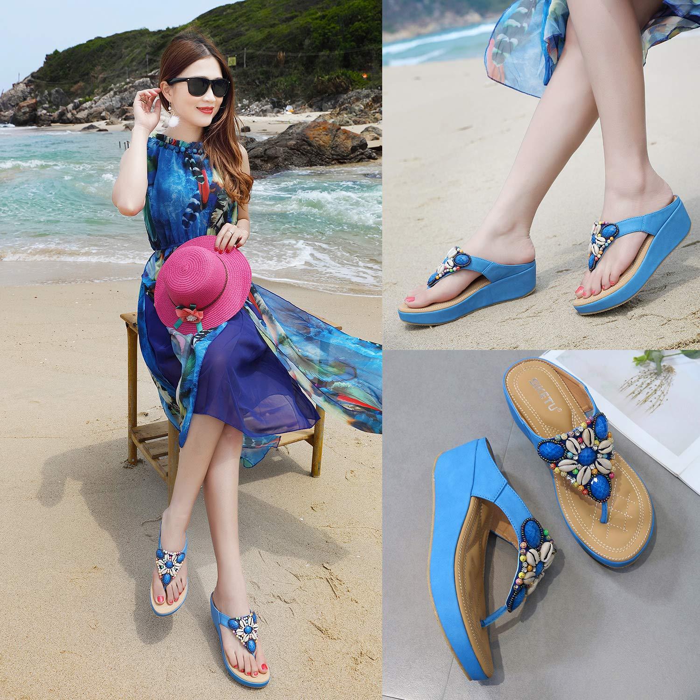 HAINE Femmes Boh/ême Tongs Clip Toe Sandales Chaussures de Plage /Ét/é