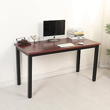 Moderno escritorio Mr IRONSTONE®, para ordenador portátil o de sobremesa, estación de escritura, para casa, oficina, color Red+Black L140cm: Amazon.es: ...
