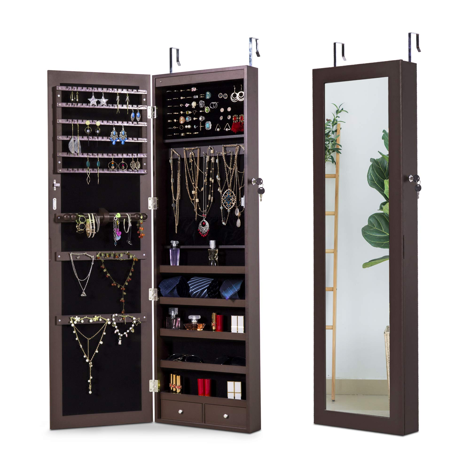 Cloud Mountain Jewelry Cabinet 6 LEDs Jewelry Armoire Lockable Wall Door Mounted Jewelry Cabinet Organizer with Mirror 2 Drawers Bedroom, Living Room, Cloakroom, Closet (Espresso)