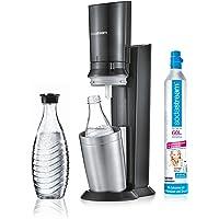 SodaStream CRYSTAL 2.0 Glaskaraffen Wassersprudler zum Sprudeln von Leitungswasser, mit spülmaschinenfester Glasflasche für Sprudelwasser. inkl. 1 Zylinder und 2 Glaskaraffen 0,6l; Farbe: Titan/Silber