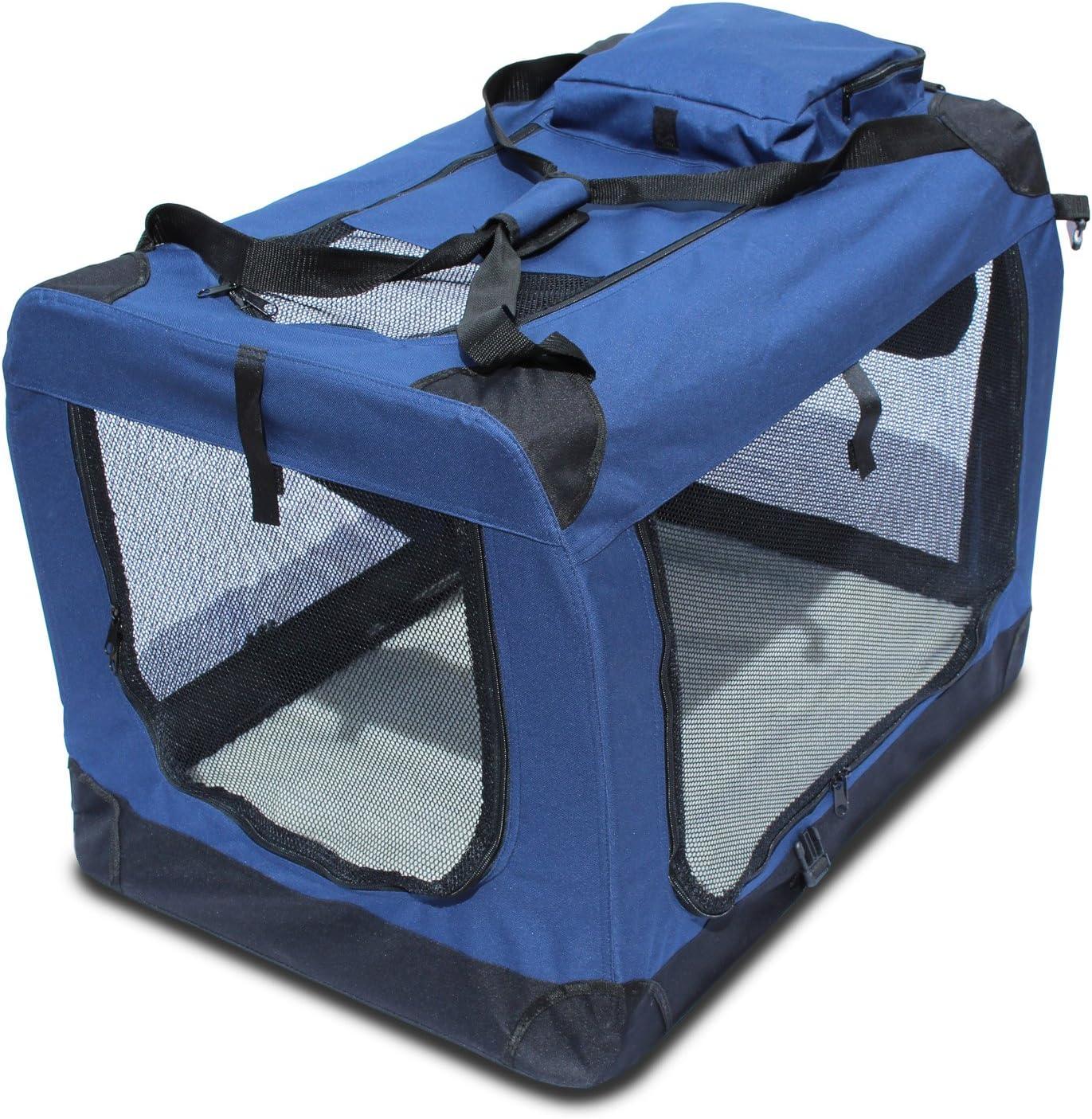 YATEK Transportin para Perros Plegable (81,3 x 58,4 x 58,4cm) entradas Laterales y Superiores con Alta Visibilidad, Confort y Seguridad para tu Mascota