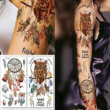 Amazoncom Supperb Temporary Tattoos Owl Dream Catcher