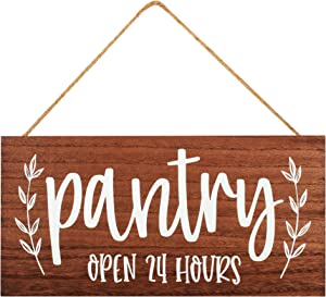 Pantry Sign for Kitchen - Rustic Farmhouse Decor Wood Signs - Hanging or Wall Mounted Wooden Decoration, Country House Style Art, Funny Modern Home Decorations - Brown, 12