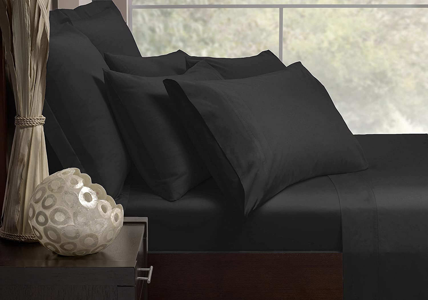 Double Extra Soft Fine Combed Polycotton Percale 180TC Flat Sheet in Black