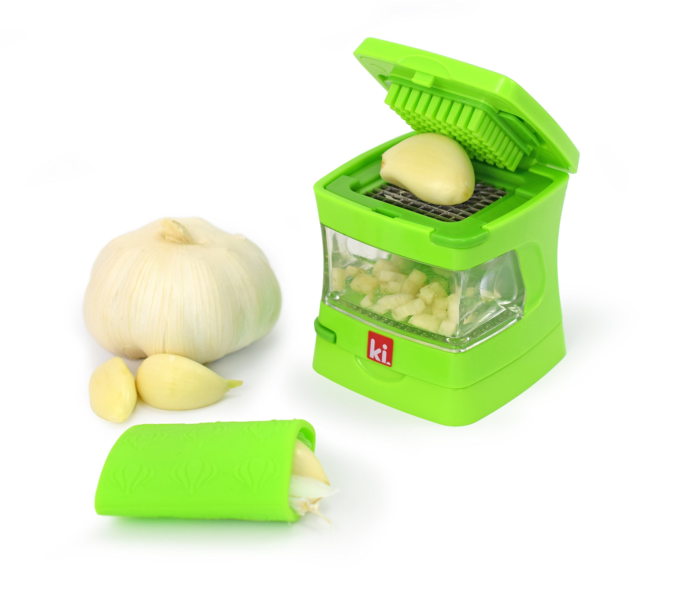 Kitchen Innovations Garlic-A-Peel Garlic Press, Crusher, Mincer, and Storage Container - Includes Silicone Garlic Peeler - Easy to Clean - Stainless Steel Blades - (Green) by Kitchen Innovations
