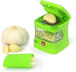 Kitchen Innovations Garlic-A-Peel Garlic Press, Crusher, Mincer, and Storage Container - Includes Silicone Garlic Peeler - Easy to Clean - Stainless Steel Blades – (Green)