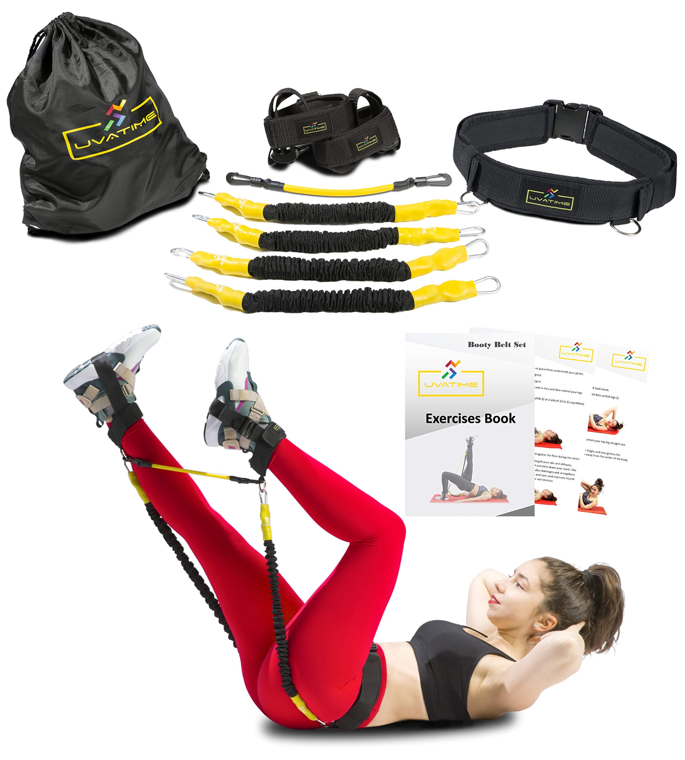 UVATIME Booty Belt with Resistance Bands for Butt and Legs Workout | Great for Abs Exercises and Jump Trainer | 4 Bands Adjustable Resistance Levels | Adjustable Ankle Straps | Backpack