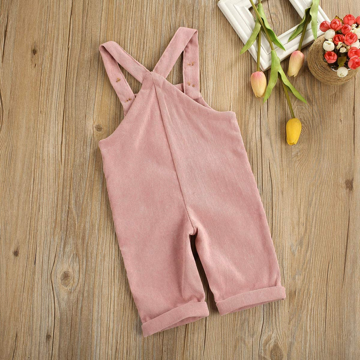 Kuriozud Toddler Baby Girl Boy Corduroy Overall Solid Bib Pants Suspender Trousers with 2 Pocket Bottom Clothes