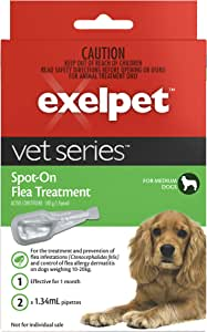 EXELPET Spot-on Medium Dog Flea Treatment, 2 x 1.34ml