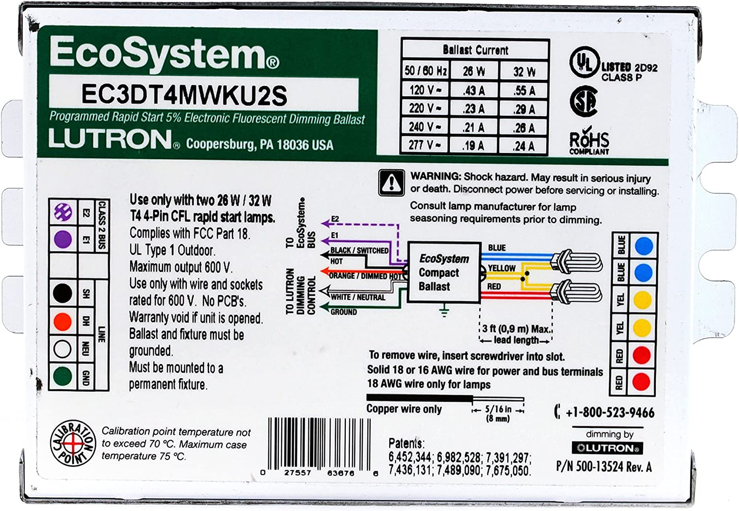 Lutron EC3DT4MWKU2S, Dimming Compact Fluorescent Ballast, 120V: Electrical  Ballasts: Amazon.com: Home ImprovementAmazon.com