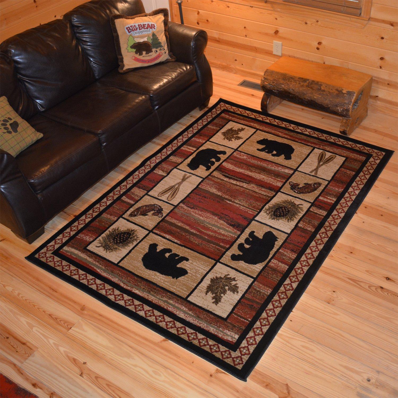 """Rustic Lodge, Bear Cabin 2x3 Area Rug, 26""""x39"""" Multi 7463"""