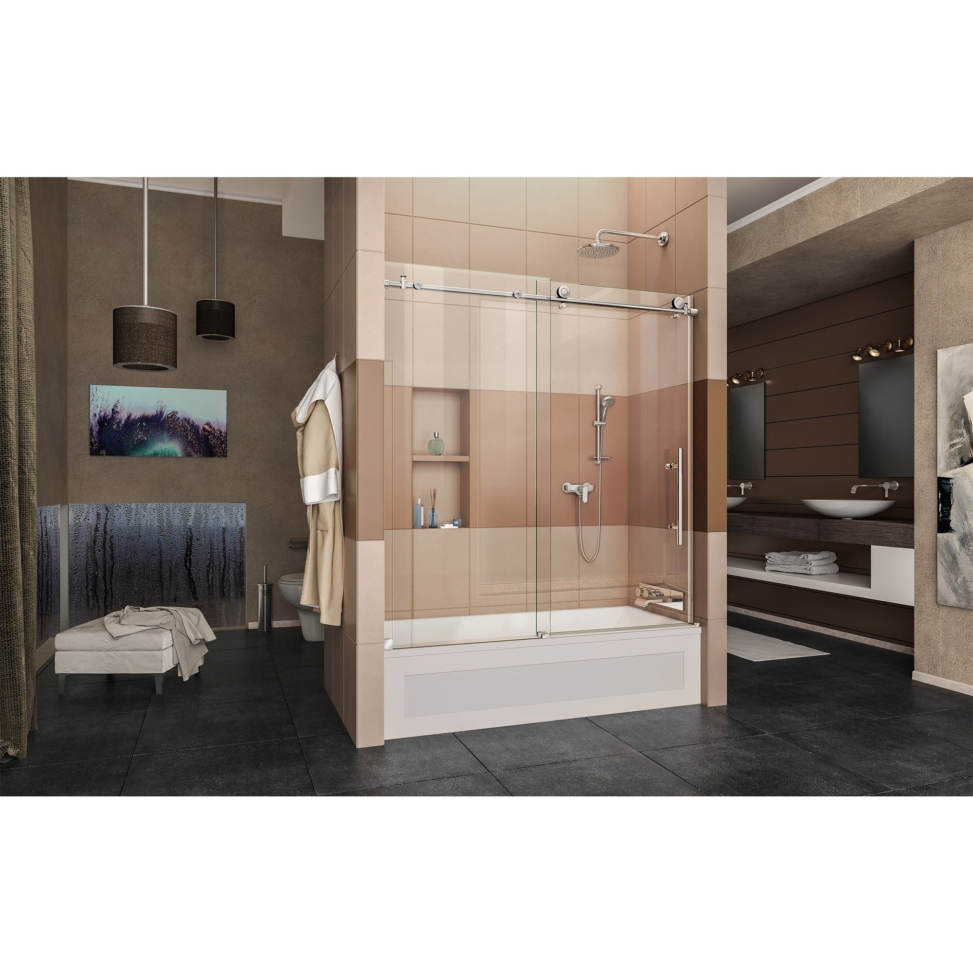 DreamLine Enigma-X 55-59 in. W x 62 in. H Fully Frameless Sliding Tub Door in Polished Stainless Steel, SHDR-61606210-08 by DreamLine (Image #4)