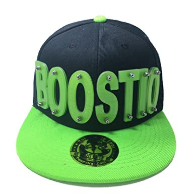 Amazon.com  BOOSTIO HAT IN BLACK WITH GREEN BRIM  Clothing 620f48ee1be
