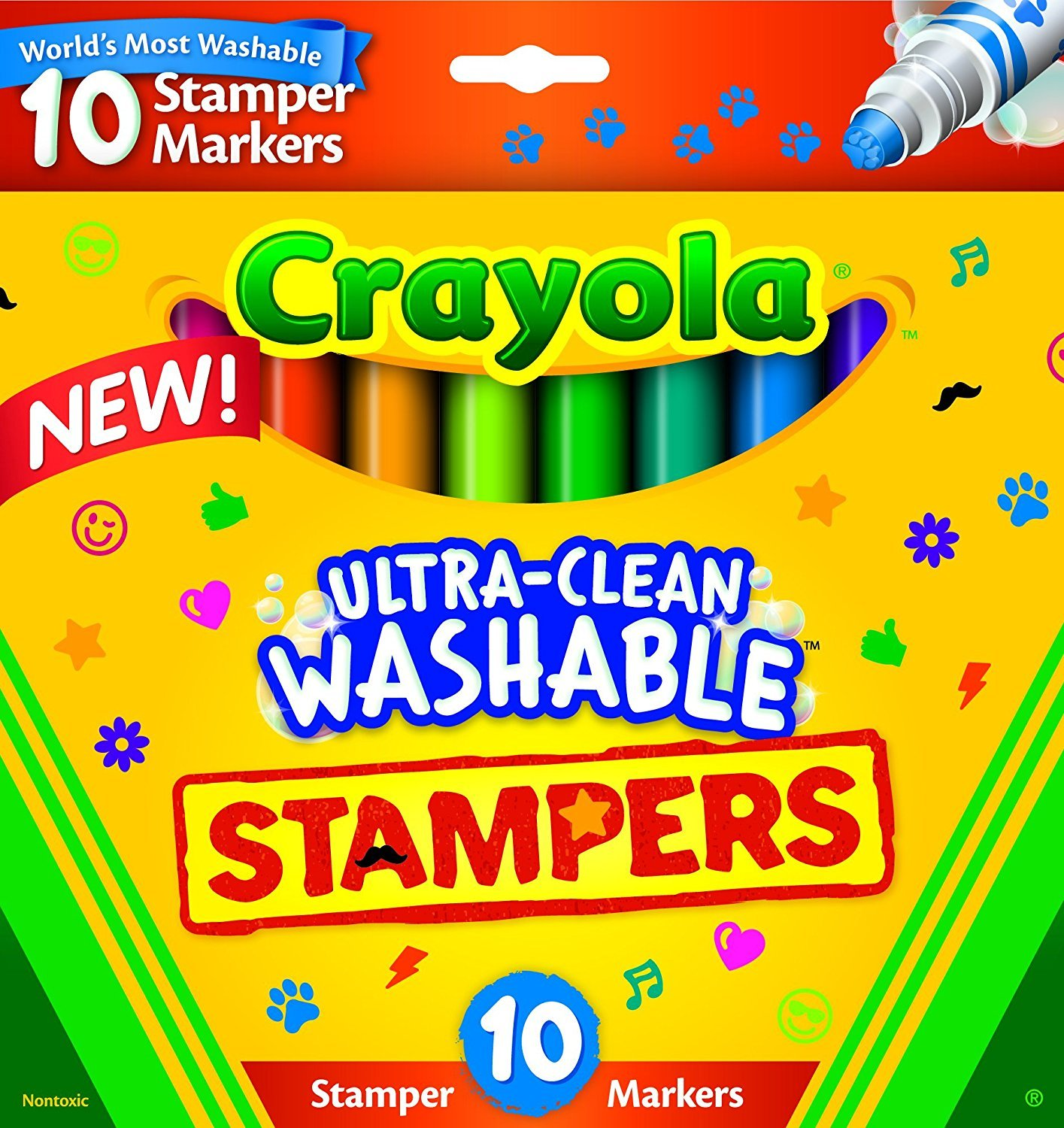 Crayola Ultra-Clean; Stamper Markers; Art Tools; 10 ct. Markers; Bright, Bold Washable Colors; Emoticons Binney & Smith 58-8148