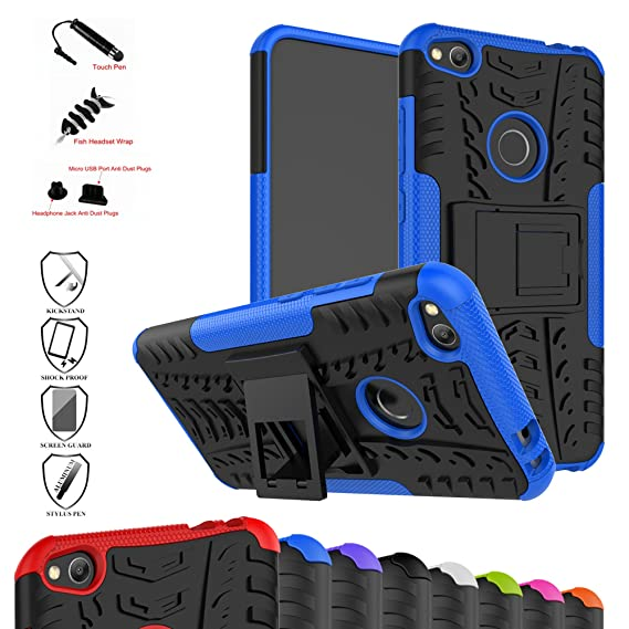 for Huawei P8 lite (2017) / Honor 8 Lite (2017) Case-Mama Mouth Shockproof Heavy Duty Combo Hybrid Rugged Dual Layer Grip Cover with Kickstand (with 4 ...