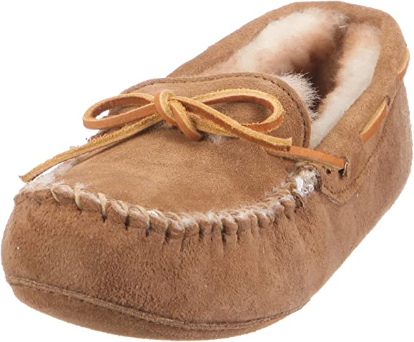 Deluxe Ladies Sheepskin Moccasin with Hard Sole Free Returns