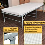 """300lbs Max Weight Capacity Quictent Heavy durable Galvanized Steel Frame folding bed for adult with Comfortable Soft Micro-Quilt 3D Stretch Knit Mattress Cover and Bonus Storage Bag-75""""x31"""""""