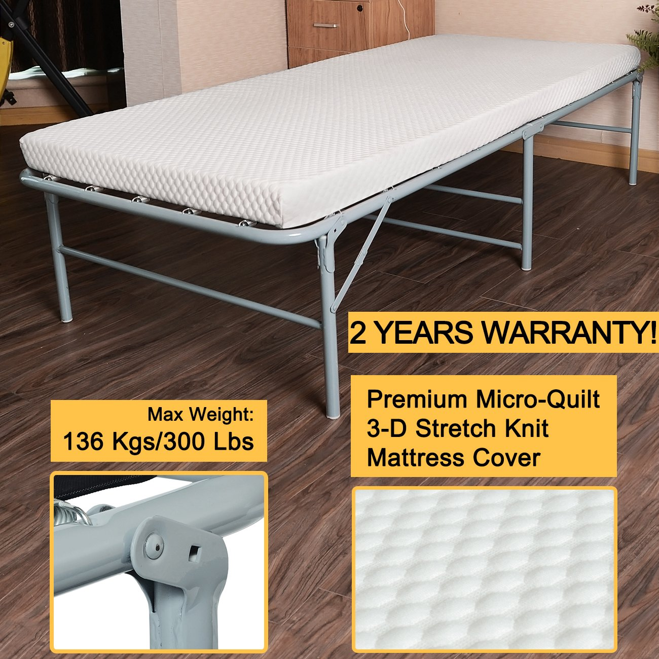 Quictent 300lbs Max Weight Capacity Heavy durable Galvanized Steel Frame folding bed for adult with Comfortable Soft Micro-Quilt 3D Stretch Knit Mattress Cover and Bonus Storage Bag-75''x31''