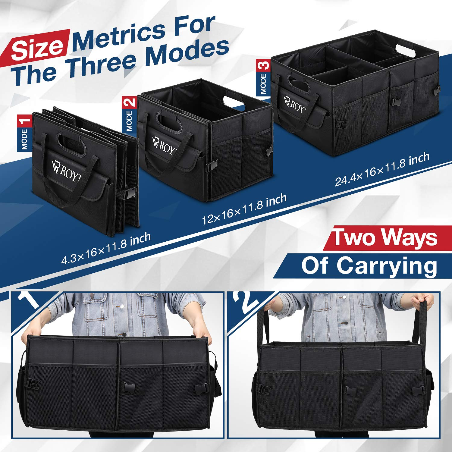 Upgraded Trunk Organizer for Car Heavy Duty Collapsible Portable Truck Bed Organizer with 4 Wider & Longer Non-Slip Bottom Strips to Prevent Sliding Bonus 1 Portable Toolkit by tomser (Image #4)