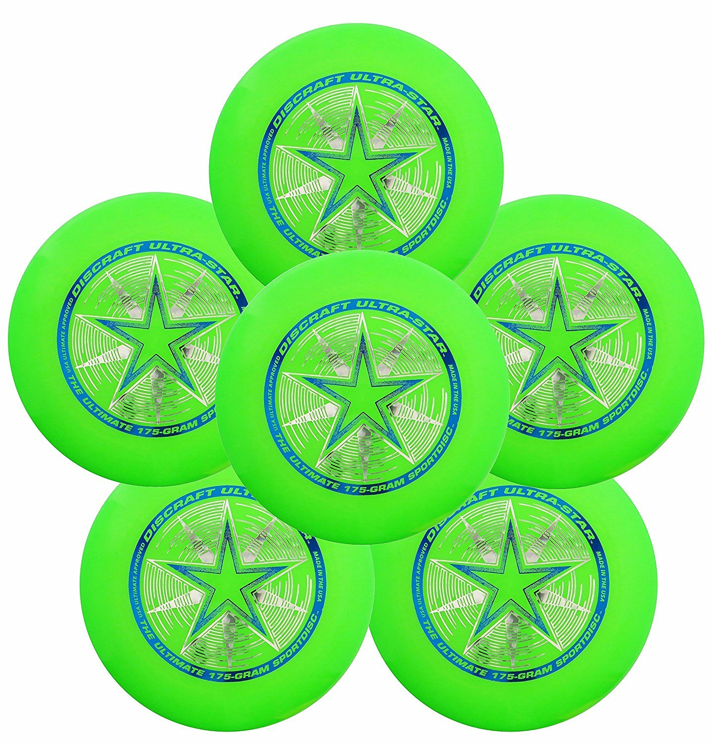 Discraft Ultra-Star 175g Ultimate Frisbee Sport Disc (6 Pack) Green by Discraft