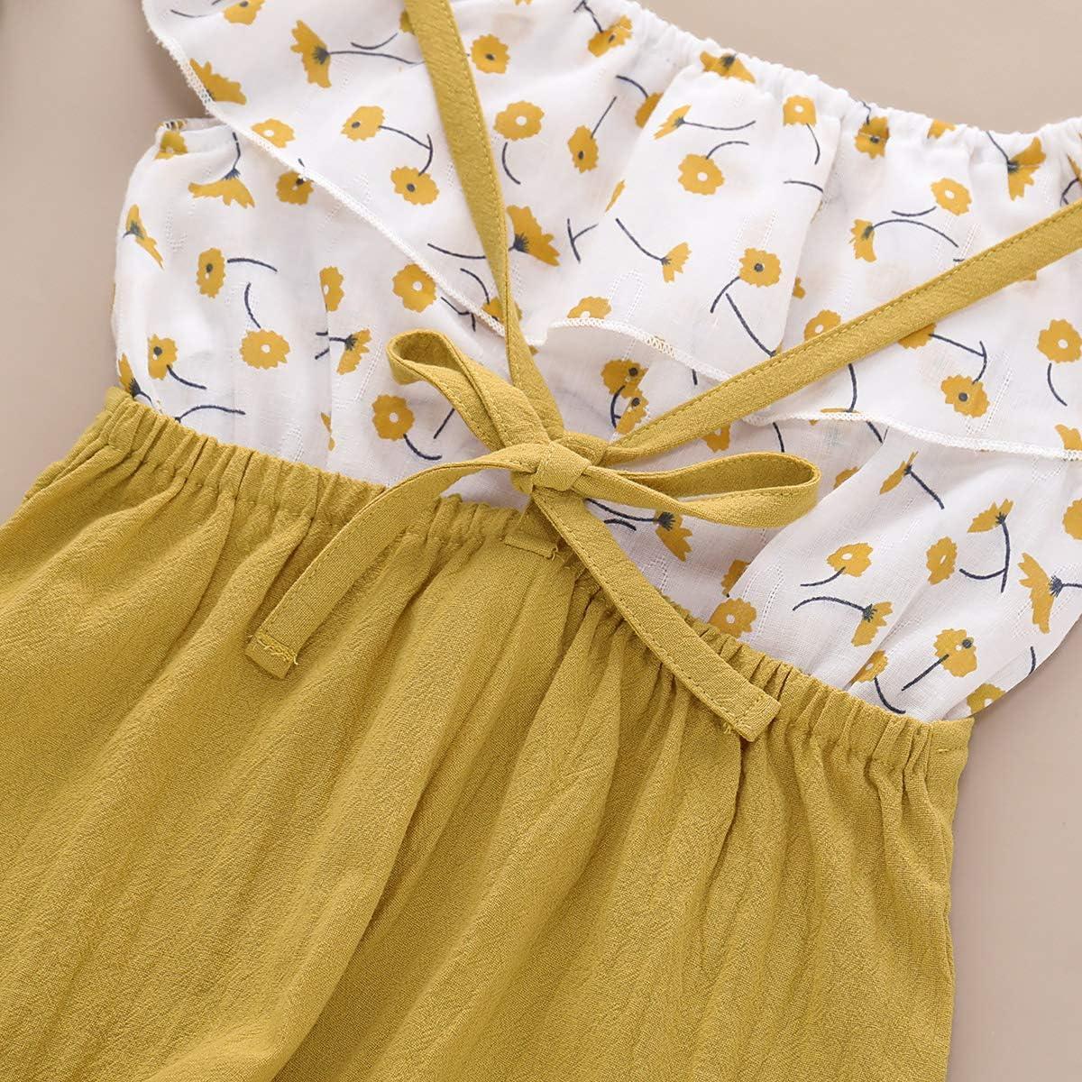 DaMohony con motivo floreale Completino da neonato per bambina salopette tutina maglietta senza maniche