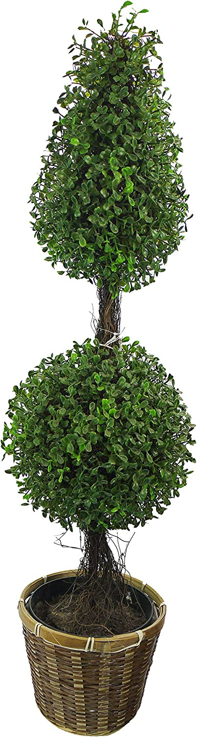Admired By Nature 3' Artificial Boxwood Leave Double Ball Shaped Topiary Plant Tree in Basket, Green/Two-Tone, D.ABNT001B-NTRL