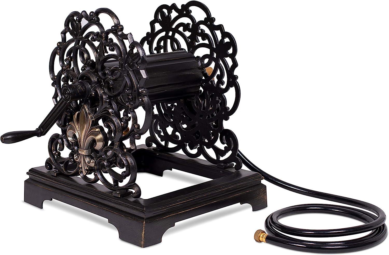 BIRDROCK HOME Free Standing Water Hose Reel – Black Cast Aluminum Holder for Garden – Outdoor Decorative Organizer – Fleur-de-lis and Scroll Design – Holds Water Hoses 150 feet
