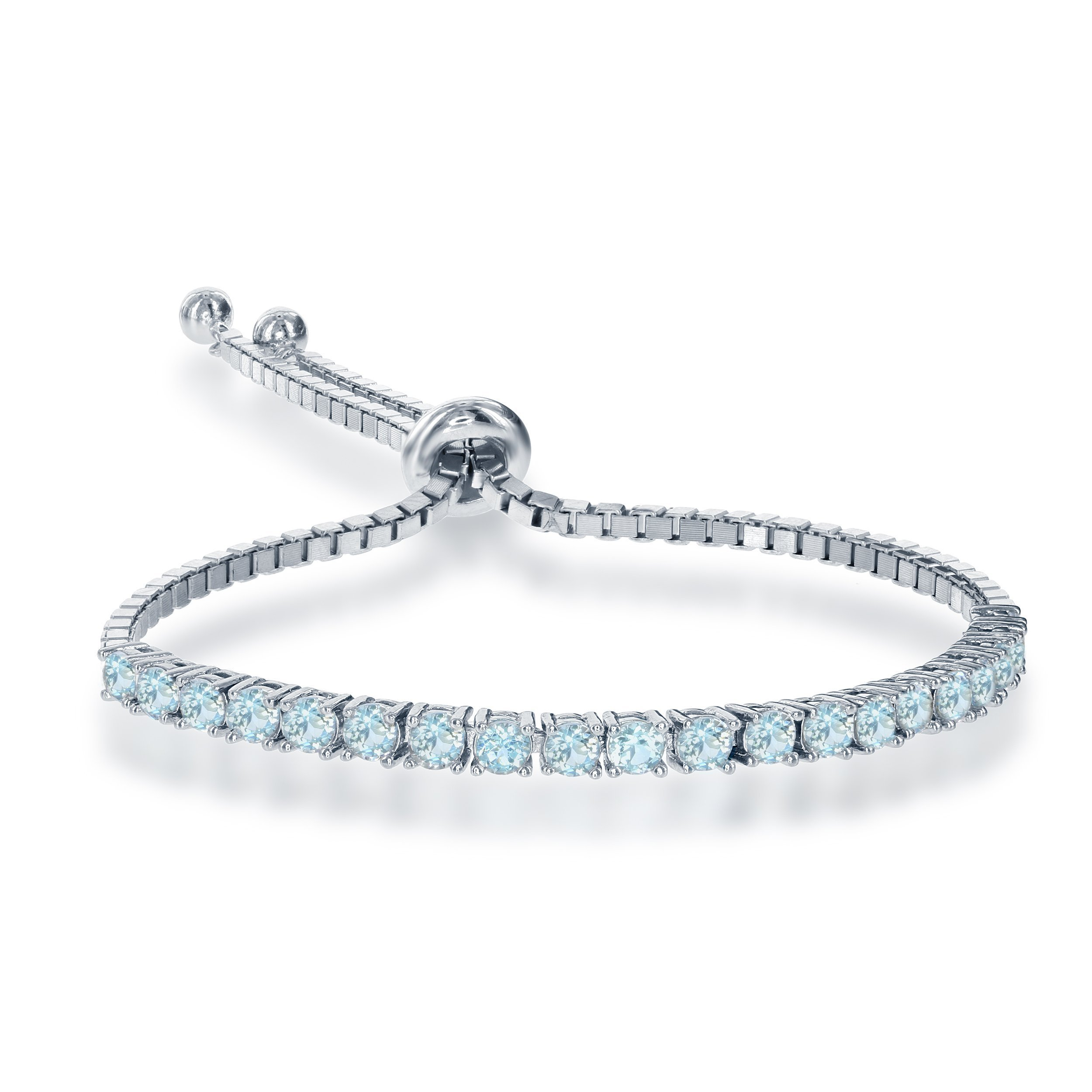 Sterling Silver Adjustable Tennis-Style 3mm Blue Topaz Gemstone Italian Bracelet
