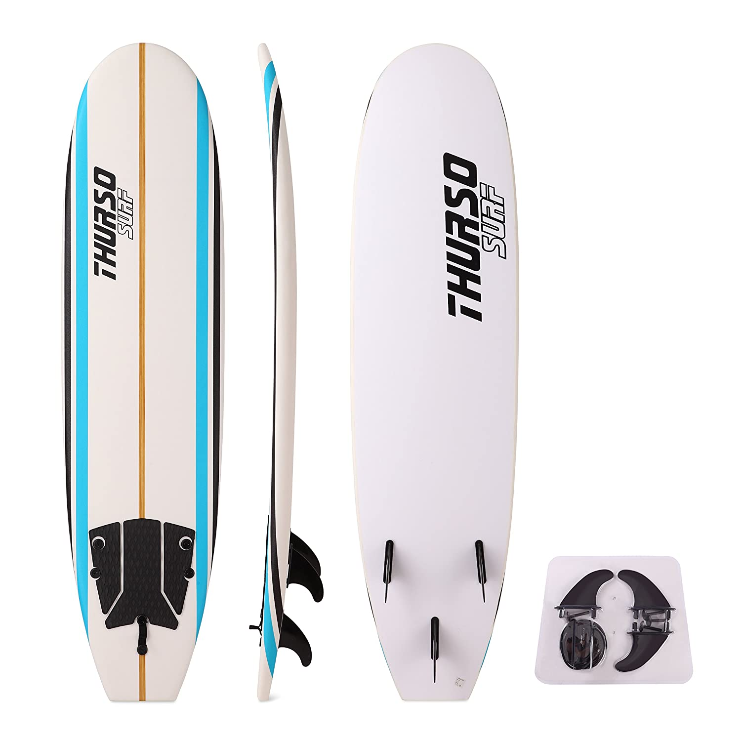 Amazon.com : THURSO SURF Aero 7 Soft Top Surfboard Package Includes Three Fins Double Stainless Steel Swivel Leash EPS Core IXPE Deck HDPE Slick Bottom ...