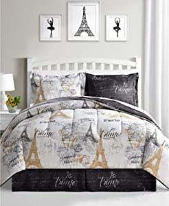 Fairfield Paris Queen Bedding Comforter Set Black and White Reversible 8 Piece Bed in a Bag Eiffel Tower Gold Design
