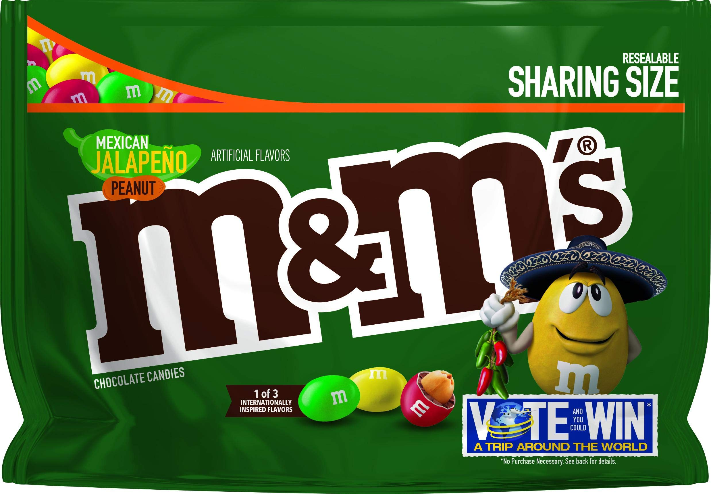 M&M's Chocolate Candy Flavor Vote Mexican Jalapeno Peanut Sharing Size, 9.6 Ounce Bag